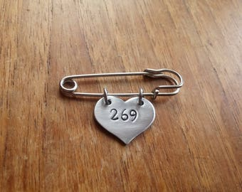 269 ~ Heart Shaped Kilt Pin Safety Pin Brooch Badge~Vegan,Animal Rights~Rustic Silver Handmade Hand Stamped Jewellery Jewelry Accessory Gift