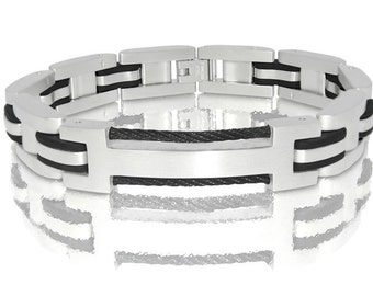 Mens Bracelet/Steel Bracelet for men with iron in the center