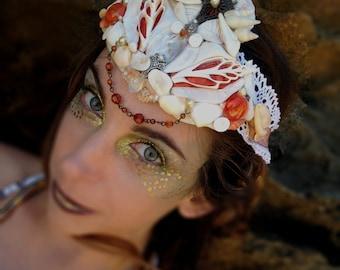 Mermaid Crown in White and Orange