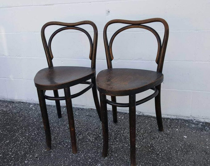 Featured listing image: On Sale - Rare Pair Old Vintage Thonet Style Bentwood Triangular Seat Stools Chairs MCM
