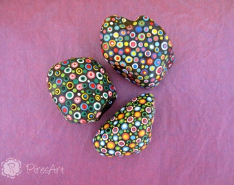 Set of 3 hand painted stones- retro style rocks- new house gift- decorated rocks- acrylic painted rock- art in stone- collectible rocks