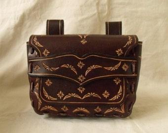 Leather tooled belt bag, dark brown