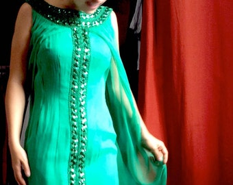 1960's evening gown in silk and emarald green chiffon - hippie chic ethnic style - glitter collar with mousseline veil