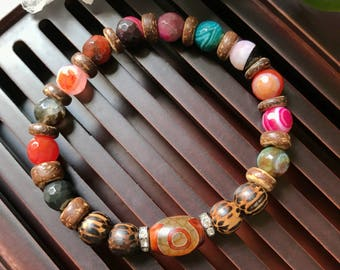 Tibetan Mystical Dzi Agate Yoga Mala Beaded Bracelet. Healing Natural Gemstone Bracelet. Protection Amulet Mala. Meditation Wrist Mala.