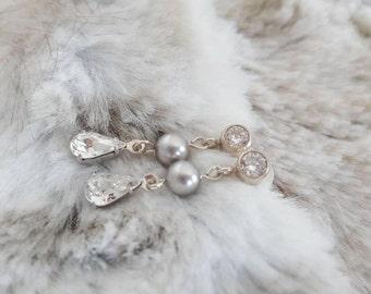 Gorgeous swarovski and pearl crystal drop earrings