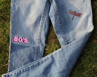 Lady's patched vintage jeans denim/Floral/Exclusive design/Hand Sewed/Handcrafted/Reworked Retro Style/Skinny Patched Fashion Jeans/80's pat