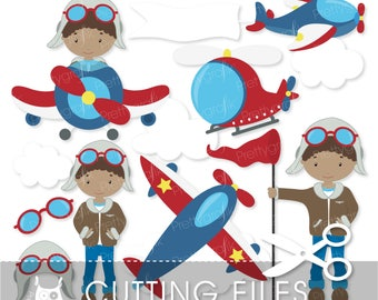 airplane pilot cutting files, svg, dxf, pdf, eps included -  cutting files for cricut and cameo - Cutting Files SVG - CT526