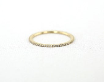 Eternity Band/ Diamond Eternity Wedding Band/ 14k Gold Thin Diamond Wedding Band/ Micro Pave Thin Diamond Eternity Band in 14k Gold/