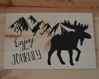Enjoy the Journey Mountain Moose Wood Sign Home Decor Gift