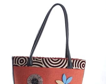 Faux sisal handbag