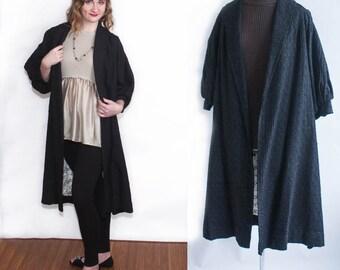 Vintage 1960s 1950s Womens Long Black Corded Swing Coat, Vintage Long Black Retro Swagger Coat, Lined Full Length Coat