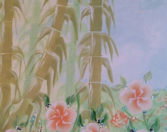 14x18 Bamboos Dancing Flowers