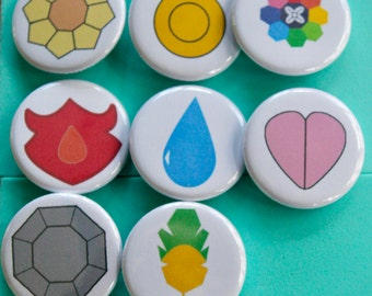 Pokemon Badges 1.25 in Buttons