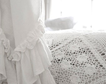 Voile White Linen Bed scarf - summer blanket- White ruffles linen throw - White linen blanket - White coverlet - choose your size
