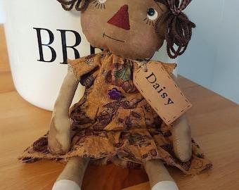 Primitive Rag Doll Daisy , Folk Art Doll, OOAK, Primitive Raggedy , HANDMADE