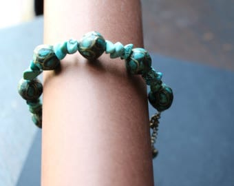 Bracelet in TURQUOISE and cloisonné beads