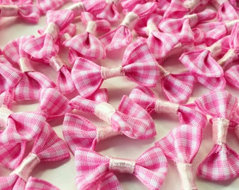100 pcs Mini Bow Tie-Pink, Miniature Craft, Jewelry Supplies