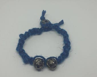 Blue Jute, Spiral weave with silver colored wire beads