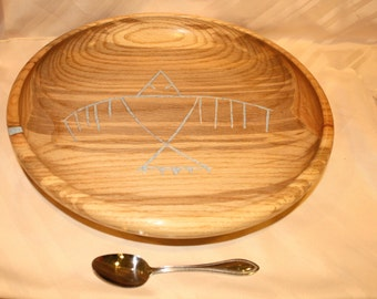 "Item #41, Large Hand Turned Platter with Linsey Inlay, ""Thunderbird""  Red Oak"