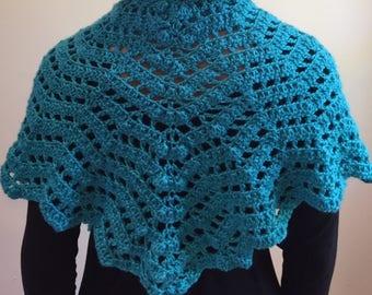 Shawl, Blue Shawl, Crocheted Shawl