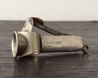 Antique Sterling Silver Cigar Cutter /