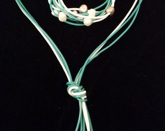 Lariat Knot Necklace Set: Turquoise/White Leather/ White/Silver Pearls