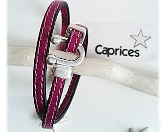 Pink double twist, stitched leather bracelet.