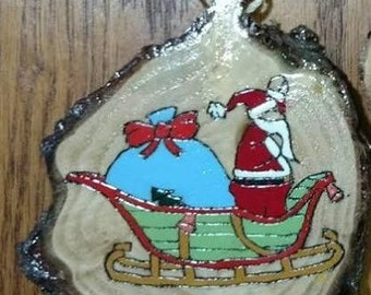 Hand Burned and hand painted re-purposed Christmas Tree Trunk Ornament.