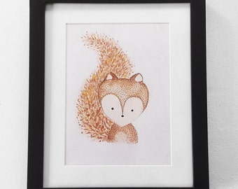 Hand-painted Woodland Squirrel