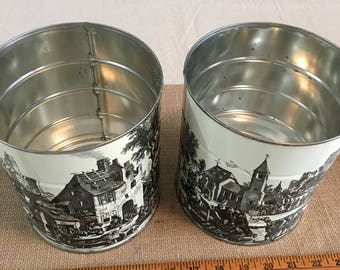Vintage Hills Brothers Coffee Cans- Black and White toile- set of 2