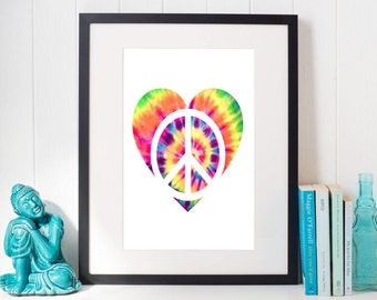 "Tie Dye Peace Sign Heart Love Hippie Boho Gypsy Printable Wall Art Decor Instant Download 8""x10"""