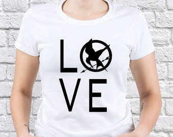 The Hunger Games/ Mockingjay/ Mockingjay Love/ women tshirt/ Hunger Games tshirt/ Mockingjay tshirt/ Camping tshirt/ Mockingjay gift/ (HG05)