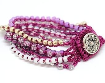 Crocheted bracelet boho chic - gift for her - Mother day