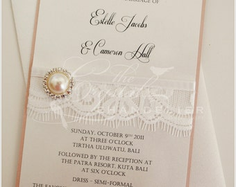 "Vintage Lace ""Estelle"" Wedding Invitation - Wedding Invitation C6 SAMPLE"