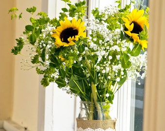8x10 inch photo print- Sunflowers in window