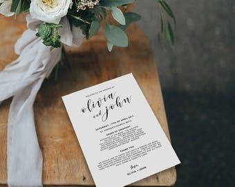 Wedding Programs Instant Download, Wedding Program Template, Printable Wedding Program, Editable Wedding Program Template - KPC01_201