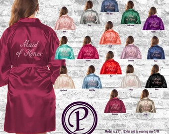 17 Colors Satin Rhinestone Maid of Honor Thigh Length Robe, Rhinestone Bridal Party Robe, Wedding Day Robe, Robe Sets