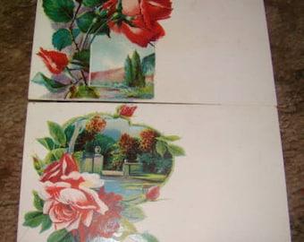 SALE 2 Vintage Floral Postcards (Roses)