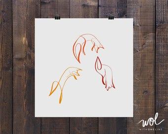 Fox Print, Fox Art, Minimal Fox, Cute Fox Gift, Line Art, Line Tattoo, Single Line, Line Drawing, Fox Gift Ideas, One Line, Minimal Art