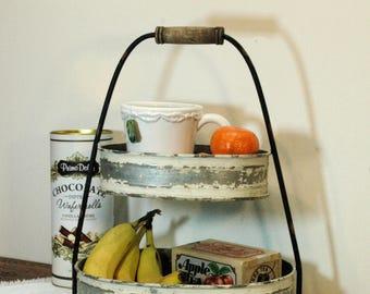 2 Tier galvanized Tray, Vintage Kitchen decor, Farmhouse kitchen, fixer upper style, Oval 2 tier tray, kitchen service, Galvanized tray