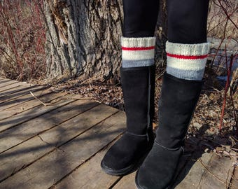 Knit Grey, White, Red Boot Cuffs ~ Sock Monkey Color