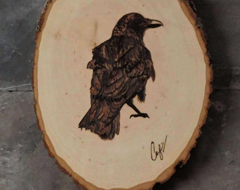 Wood-Burning: Perched Crow