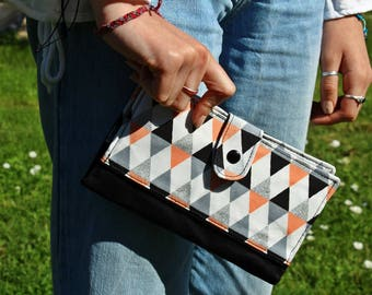 Wallet / checkbook holder / wallet for women 100% cotton white, silver glitter, Apricot and black