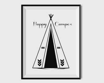 Happy Camper, Nursery Art, Nursery Print, Nursery Wall Art, Nursery Decor, Black And White