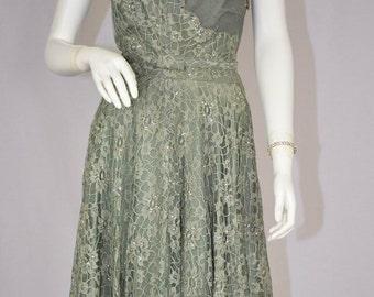 1950s Green Evening Dress