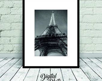 Eiffel Tower Photo, Paris Photo, Digital Print, Paris, Black & White, Wall Art, Poster, Home Decor, Printable Art, Instant Download, France