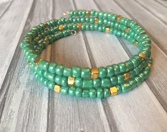Mint Green and Gold Wrap Bracelet, Memory Wire Bracelet, Boho Bracelet, Beaded Bracelet, Gift for Her