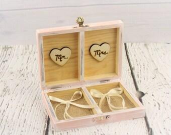 Ring Bearer Box - Wedding Ring Holder - Rustic Wedding - Rustic Ring Box - Ring Bearer Pillow - Custom Wood Box - Blush Pink Wedding