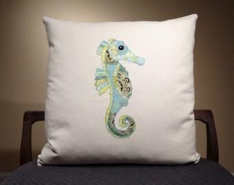 Blue Seahorse Pillows, Sea Horse Nautical Pillows, Beach Pillows, Embroidered Pillows, Sea Animal Pillows, Seahorse Cushions
