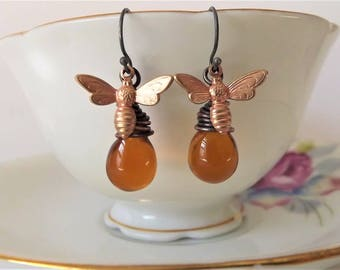 Honey Bee Earrings - Copper Bee Earrings - Bee Drop Earrings - Bumble Bee Earrings - Copper Bumble Bee Earrings - Honey Bee Drop